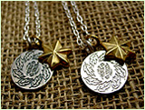 シルバー×真鍮2連ネックレス葉羽